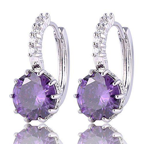 Huggie Hoop Earring Stones Purple Crystal dX3fgRSjL