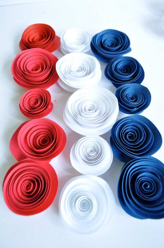 Great Patriotic Paper Flowers Red, White And Blue Paper Flowers Table Decorations  25 Flowers