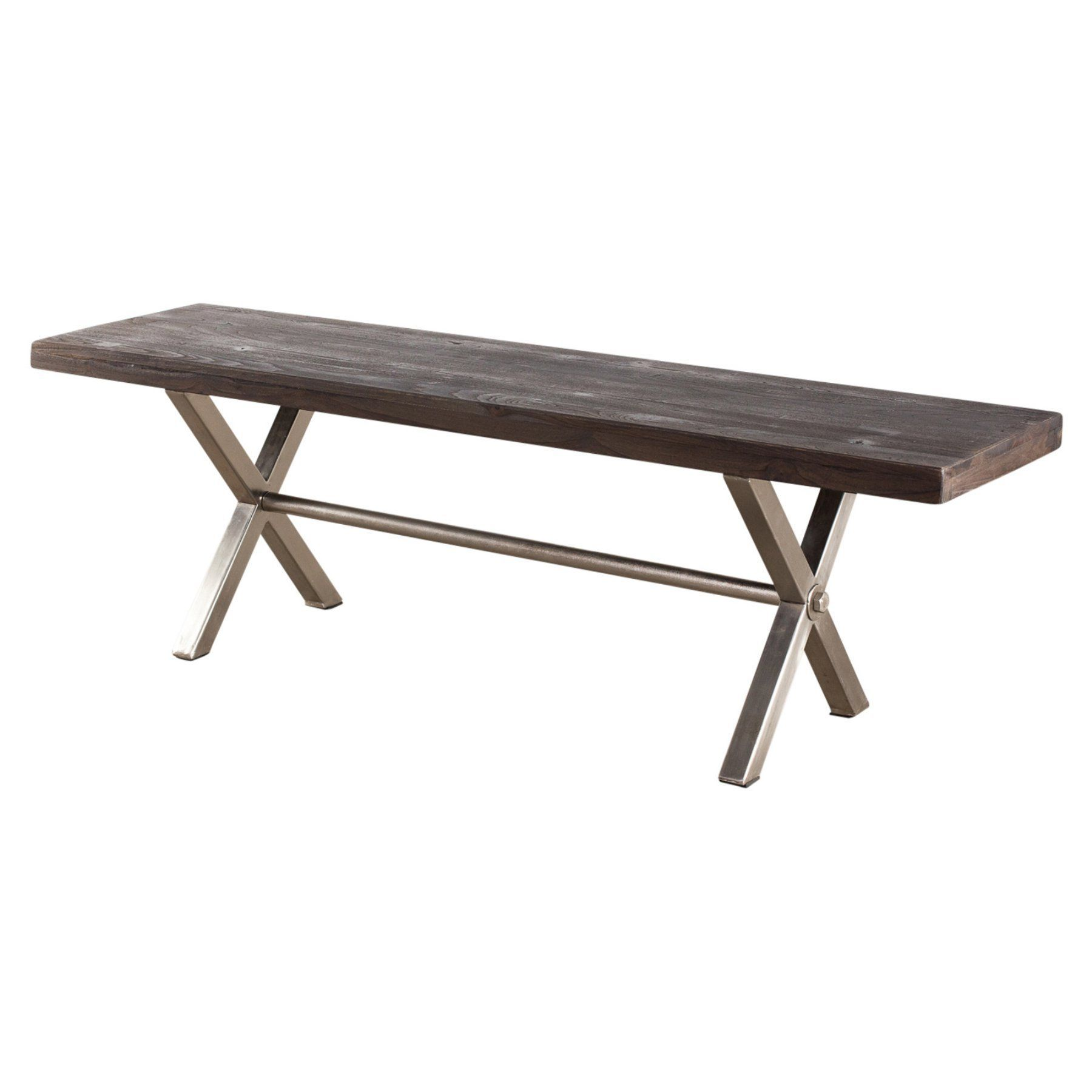 ... Industrial Style And Smart Extra Seating With This Coorg Indoor Bench    Natural . It Has A Wooden Plank Top And Brushed Metal X.
