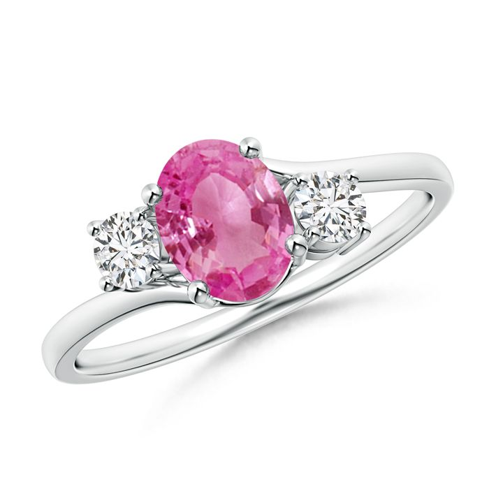 Bypass 3 Stone Pink Sapphire And Diamond Ring With Prong
