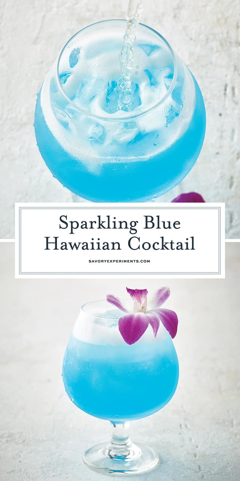 Sparkling Blue Hawaiian Cocktail | Tropical Cocktail Recipe