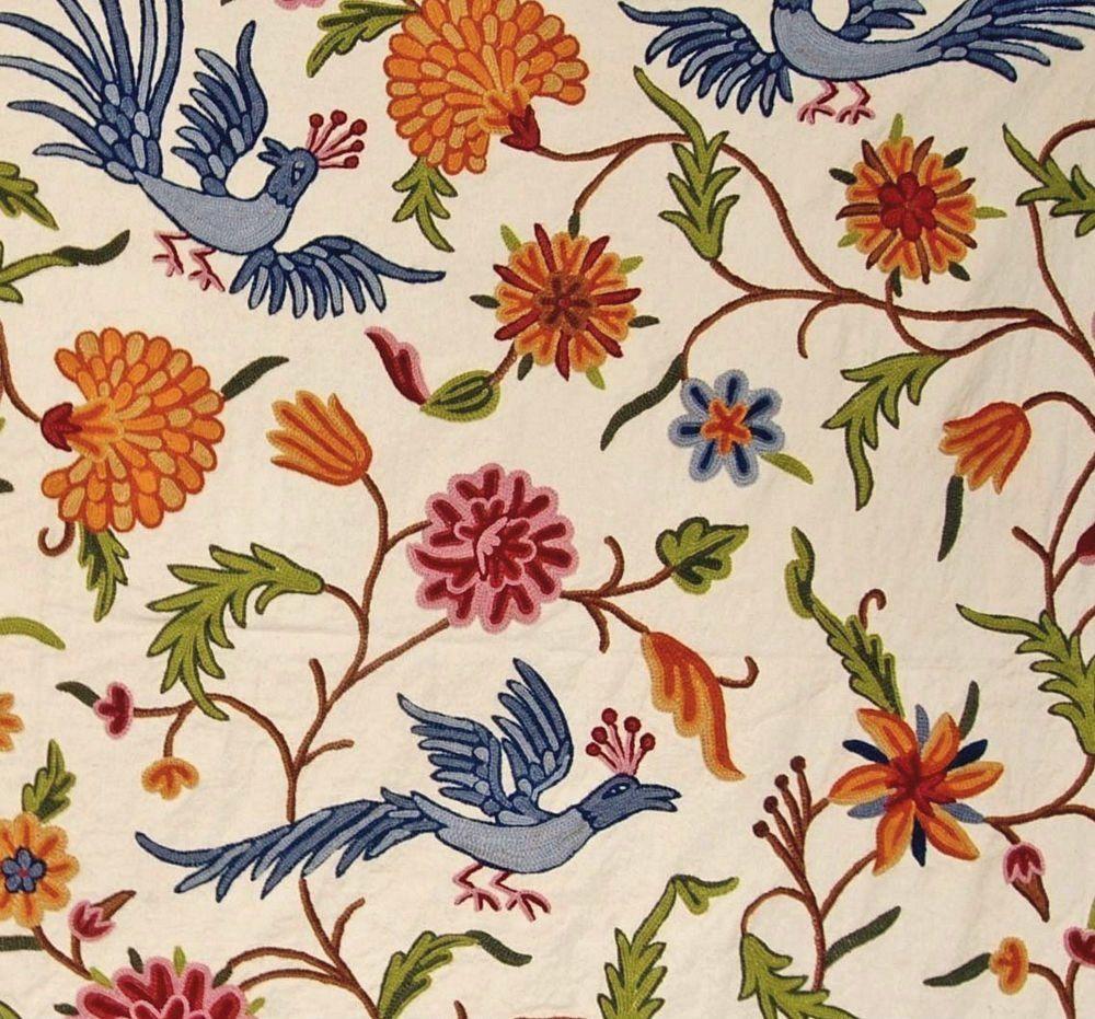 Cotton Crewel Embroidered Fabric Birds Cream Multicolor