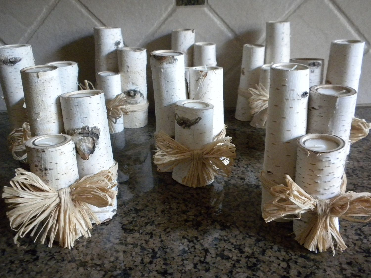 white birch wedding decorations | Sets of 3 White Birch Votive Candle Holders Perfect for Weddings ...