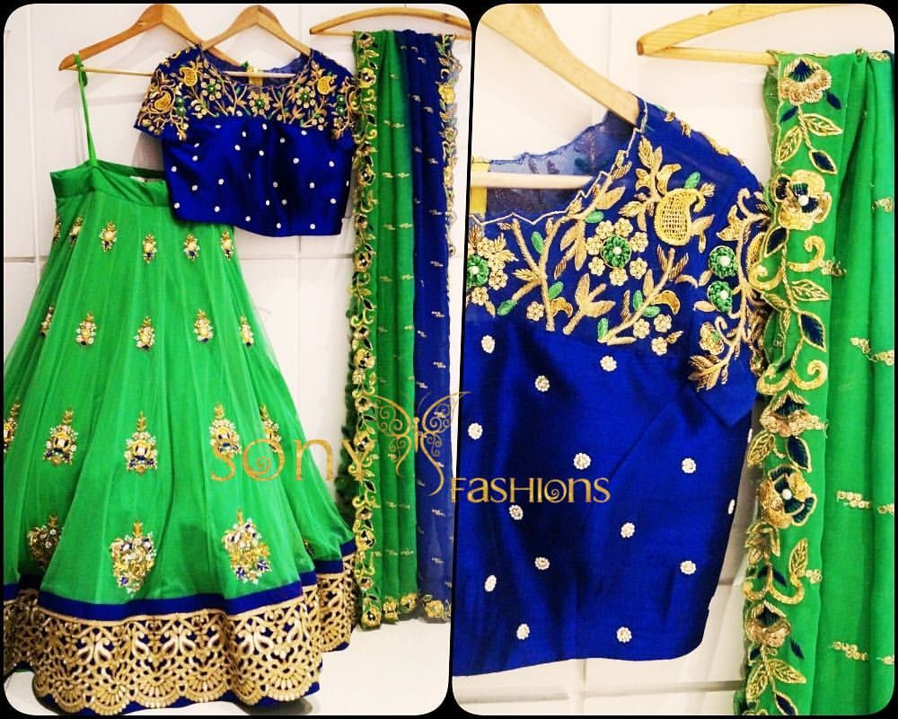 Green and royal blue lehenga and blouse from Sony fashions.
