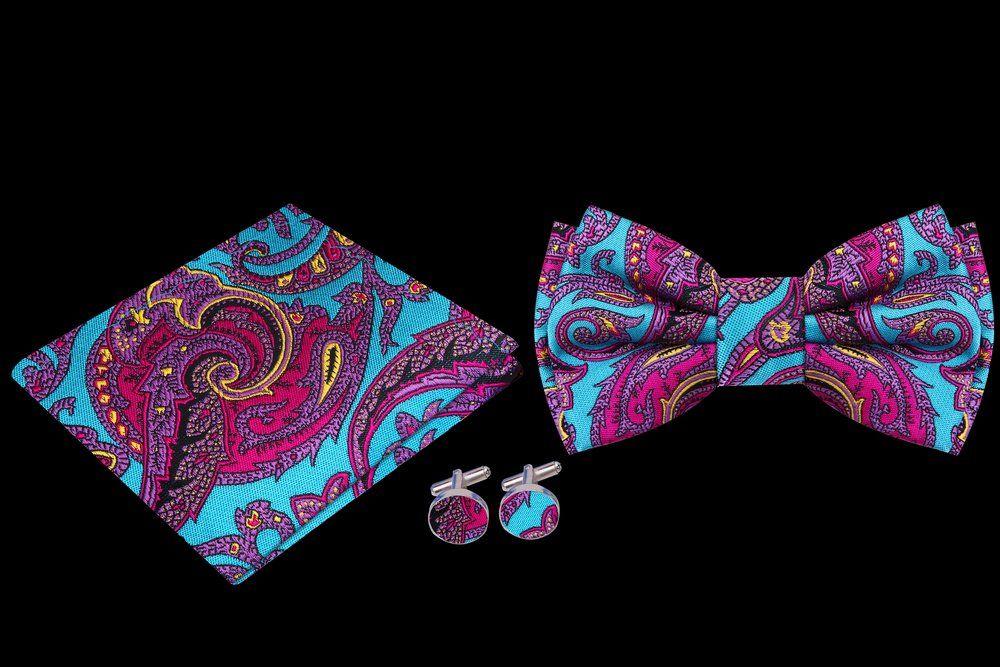 Mens Aqua Blue Paisley Pre-Tied Bowtie Wedding Self Bow Tie /& Pocket Square Set