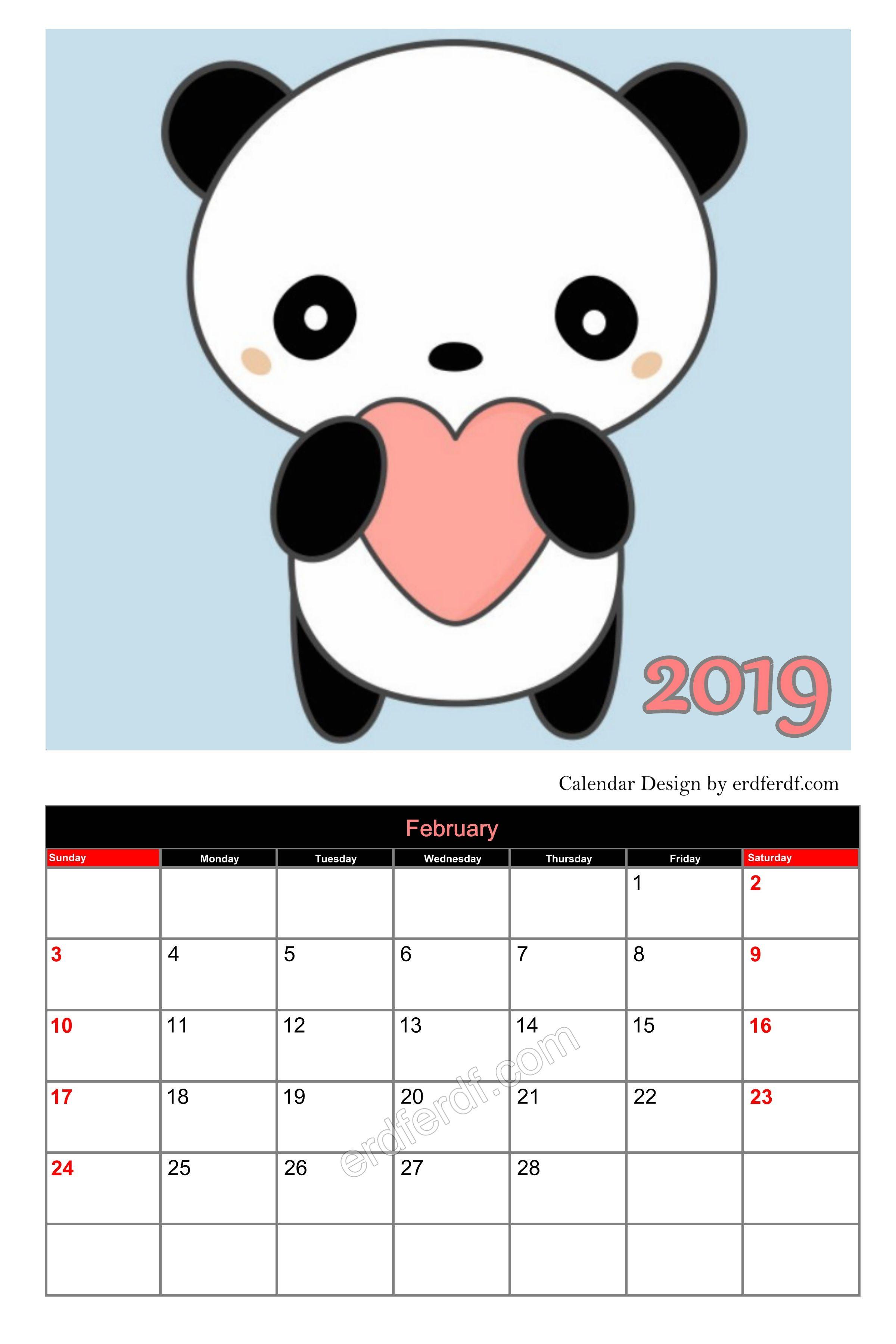 Elementary School February Calendar 2019 Blank Panda Cute Editable Calendar 2019 February Cute Free Download