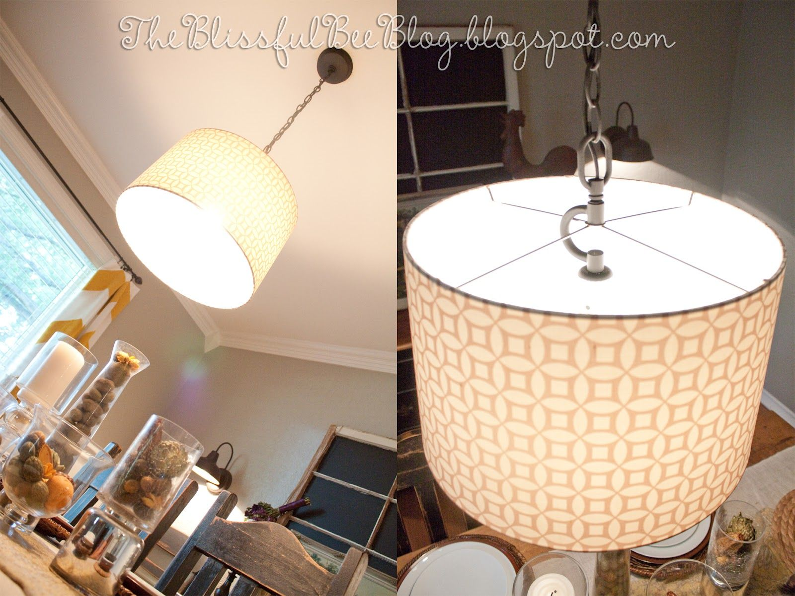 The Blissful Bee: DIY Hanging {Drum} Light Fixture...for Over