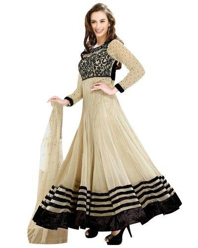 Evelyn Sharma Net & Velvet Beige Anarkali Suit