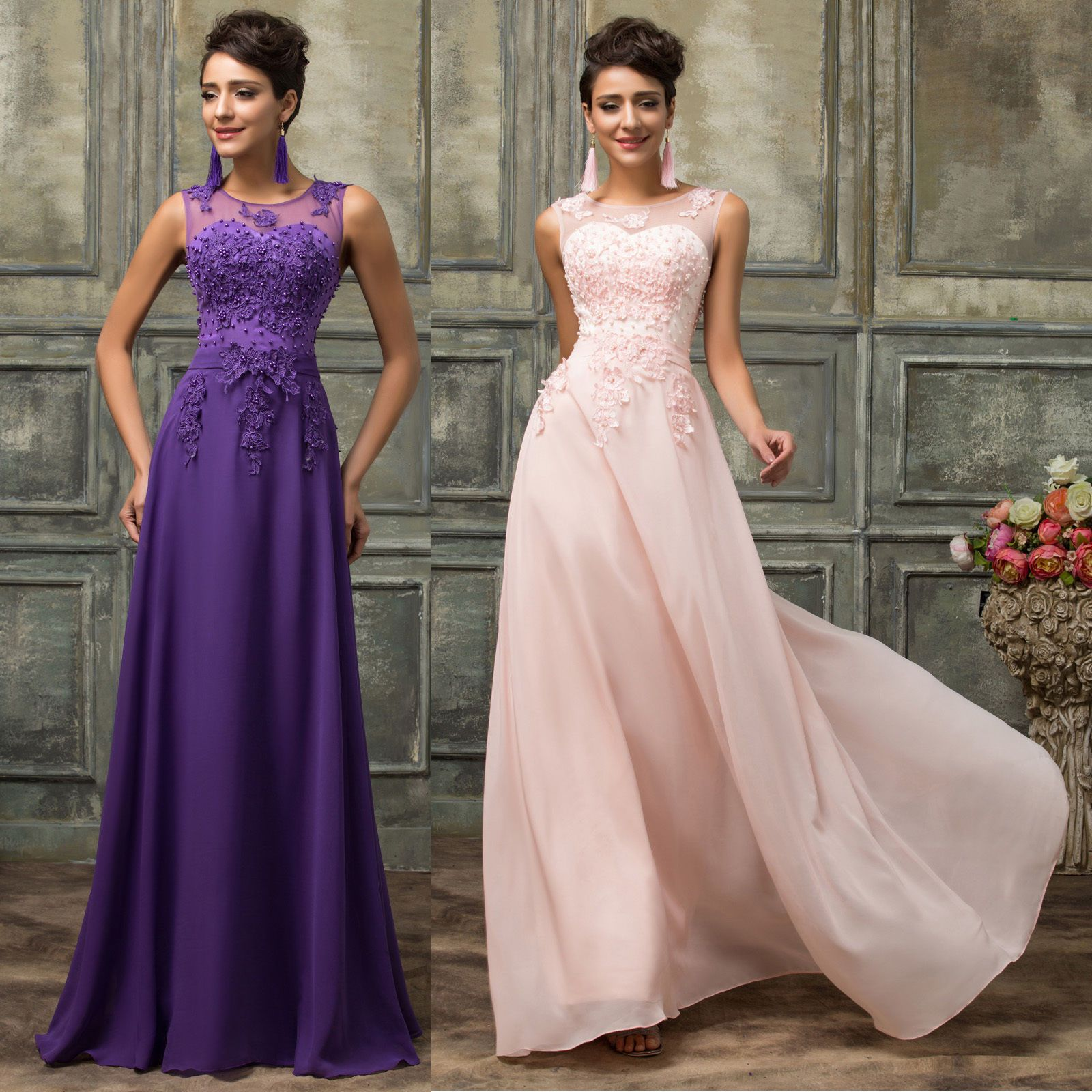PRINCESS LACE BEADED Long Prom Dresses Evening Party ...