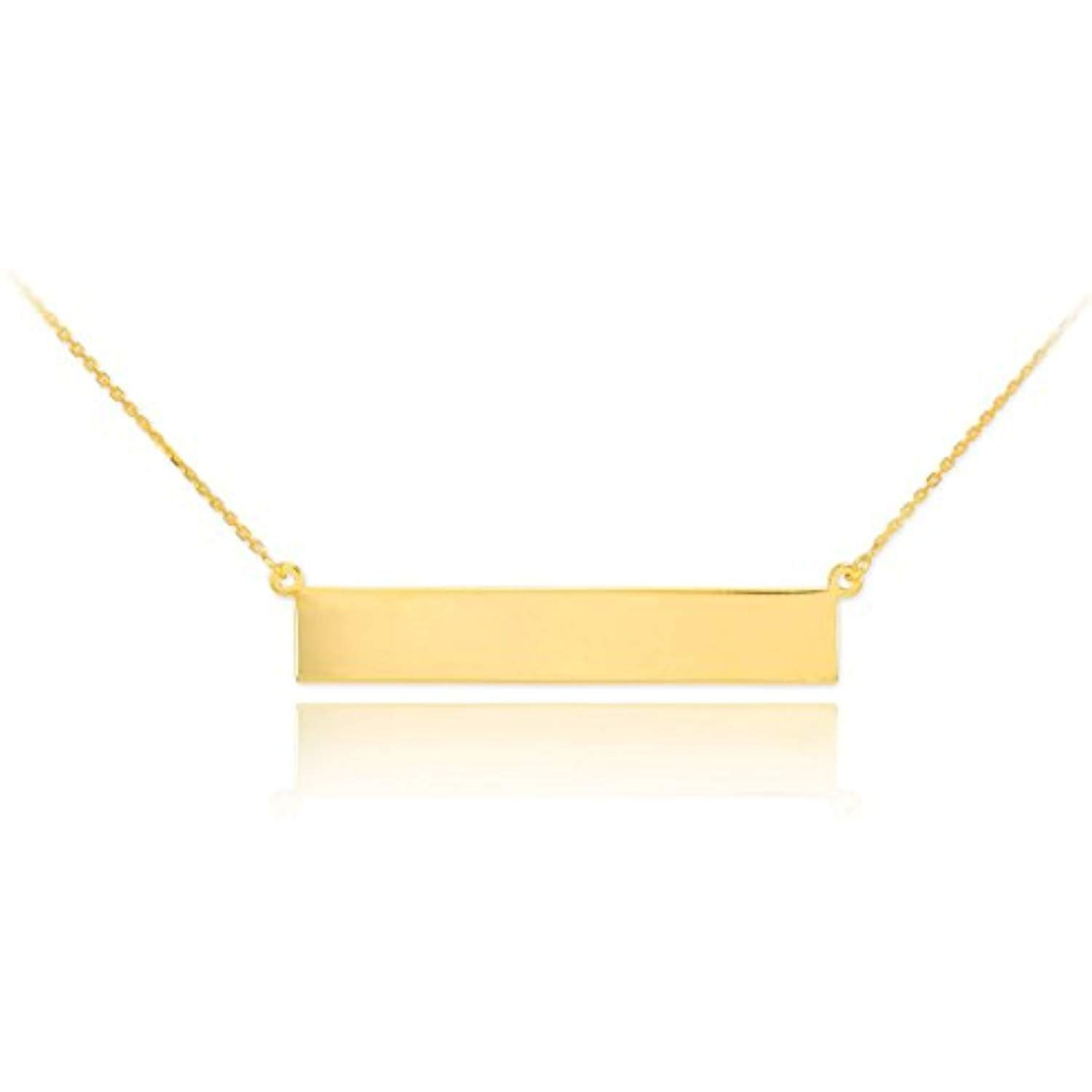 High Polish 14k Yellow Gold Personalized Custom Engravable Bar Necklace Click Image For More Details T Engraved Bar Necklace Engraved Necklace Bar Necklace