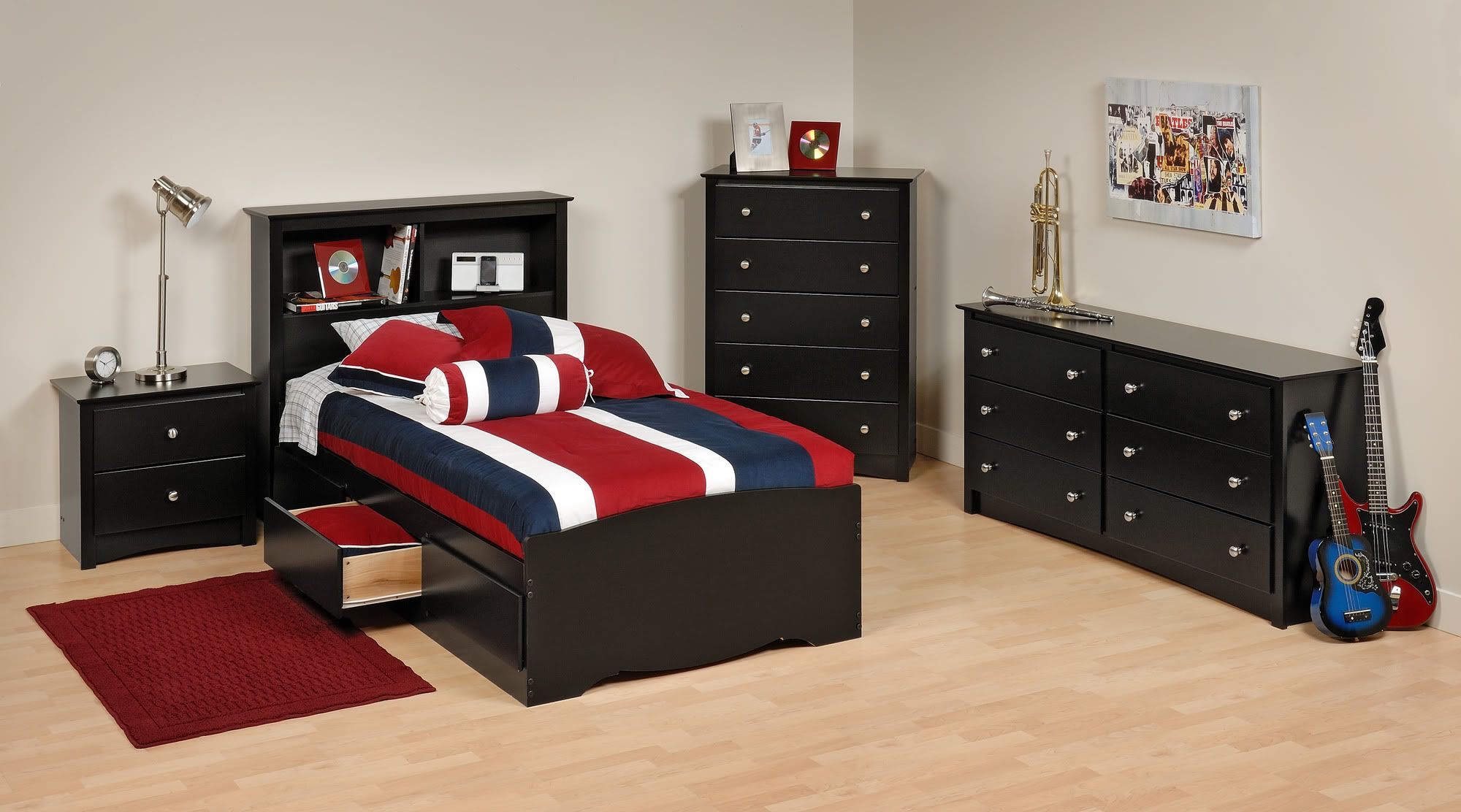 Alluring Boys Bedroom Set with Twin Size Bookcase Bed and Simple Rectangular Dresser and Drawer
