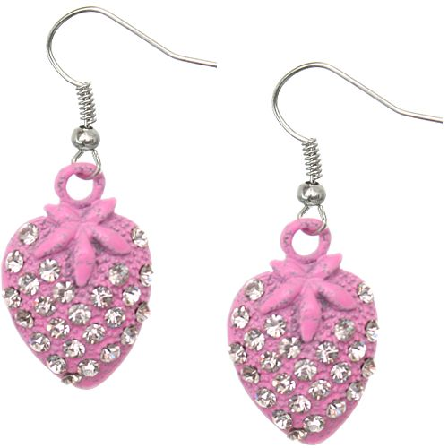 Candy Luxx - Pink Rhinestone Mini Strawberry Dangle Earrings, $5.99 (http://www.candyluxx.com/products/pink-rhinestone-mini-strawberry-dangle-earrings.html)