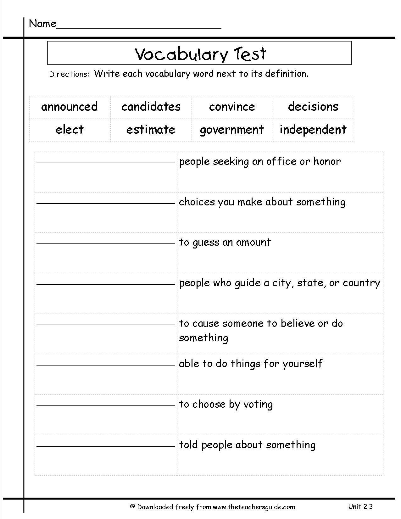 3rd Grade Vocabulary Worksheets Englishworksheets