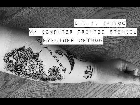 Realistic DIY Tattoo Eyeliner Method with Template YouTube  - DIY Tattoo Dauerhaft Blog -