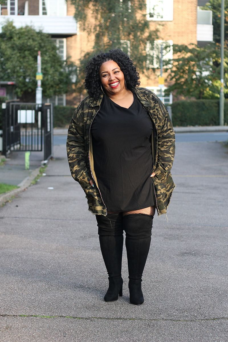 Camouflage Jacket Over The Knee Boots Plus Size Fashion Girly Fashion Plus Size Style Plus Size Looks Clothin Plus Size Fashion Plus Size Outfits Fashion