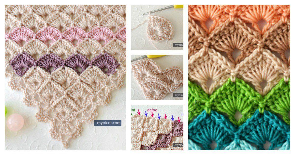 Triangle Shawl Box Stitch Crochet Free Pattern | Puntadas, Ganchillo ...