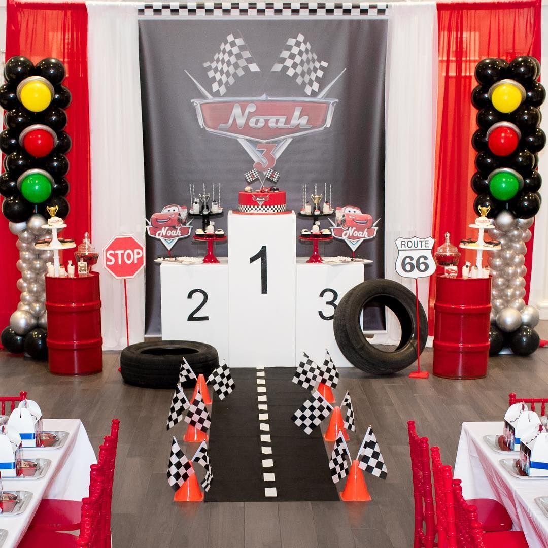 """Creative Dessert Tables on Instagram: """"Cars 🚗 theme 3rd birthday!! photography by @purroy_photo_video backdrop by @beelovedparties balloons by @balloonsbysb props by @penny5563…"""""""