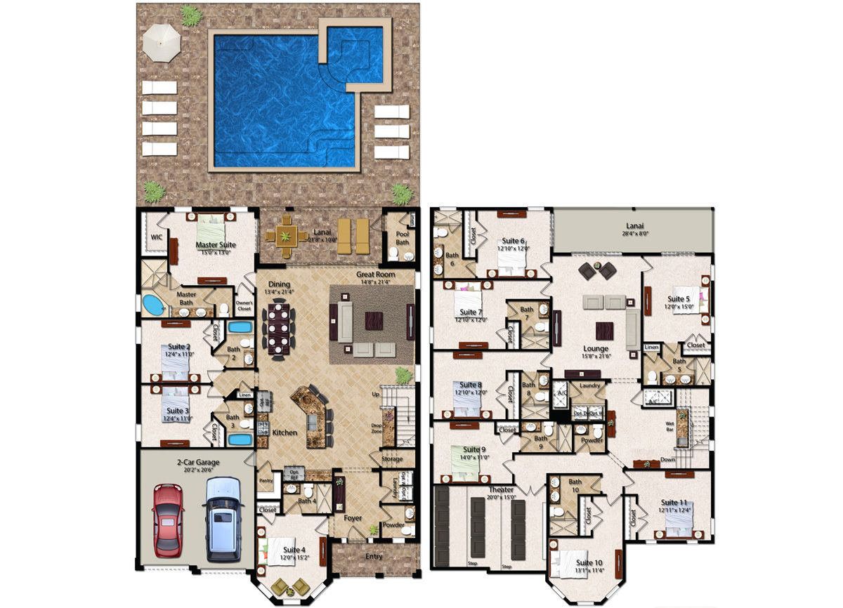 11 Bedroom Homes With More Than 5 500 Square Feet Of Living Space The 11 Bedroom Biltmore Features A Model House Plan Pool House Plans Home Design Floor Plans