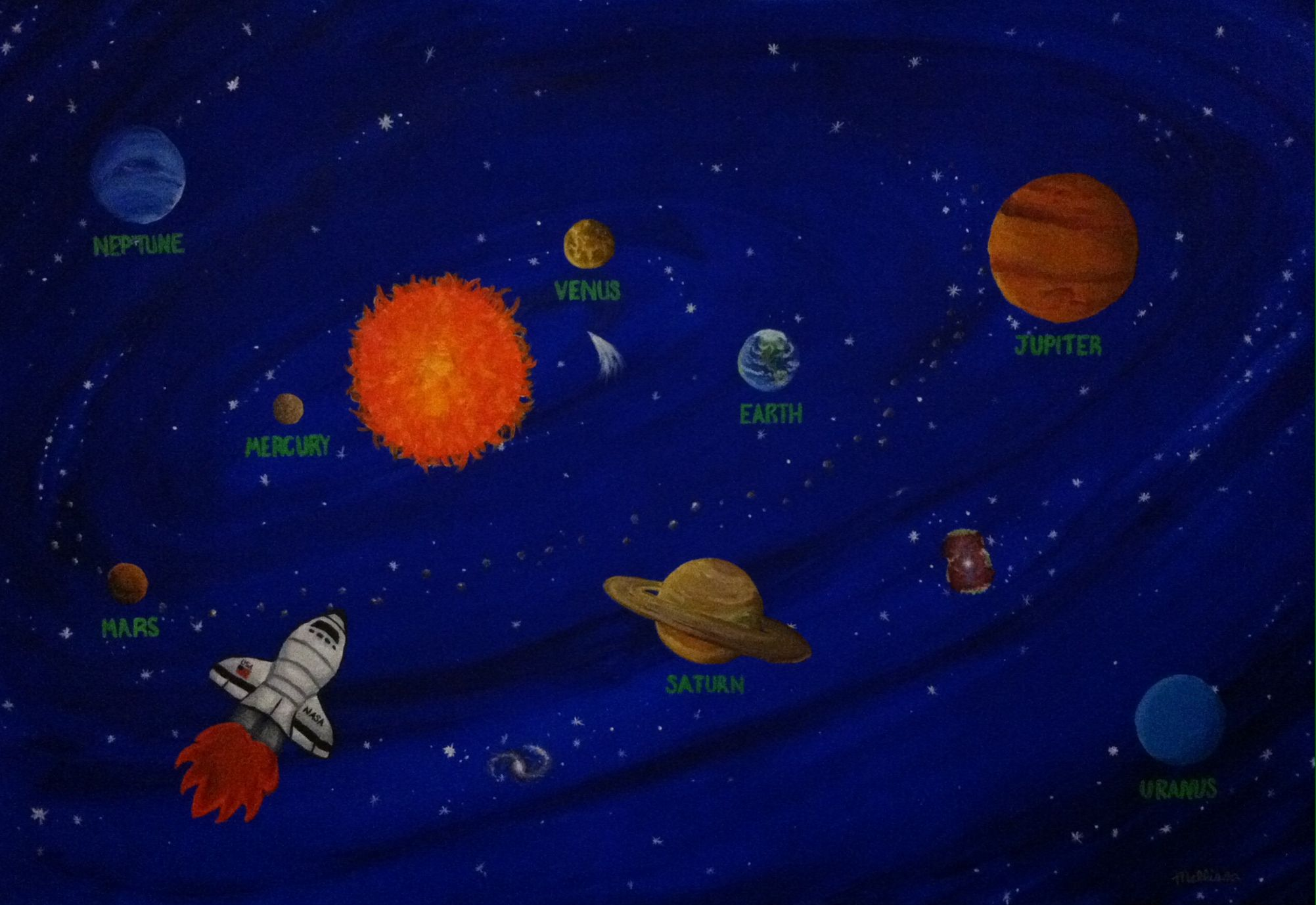 Outer space painting i made for kenneth has all the big for What is outer space made of