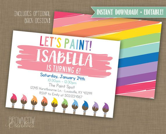 art party invitation instant invitation editable invitation art