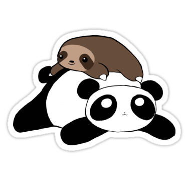 Little sloth and panda stickers by saradaboru redbubble
