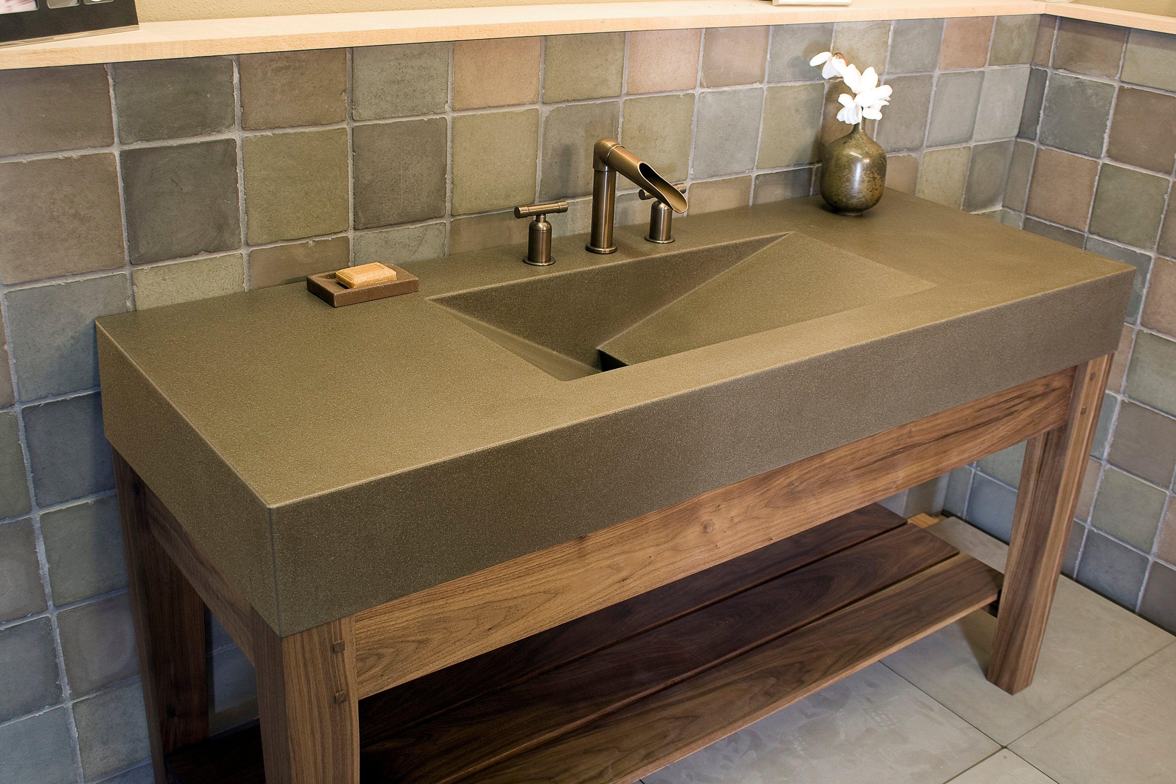 25 Gorgeous Modern Rustic Bathroom Vanities With Tops Rustic Bathroom Vanities Concrete Countertops Bathroom Rustic Bathroom Sinks
