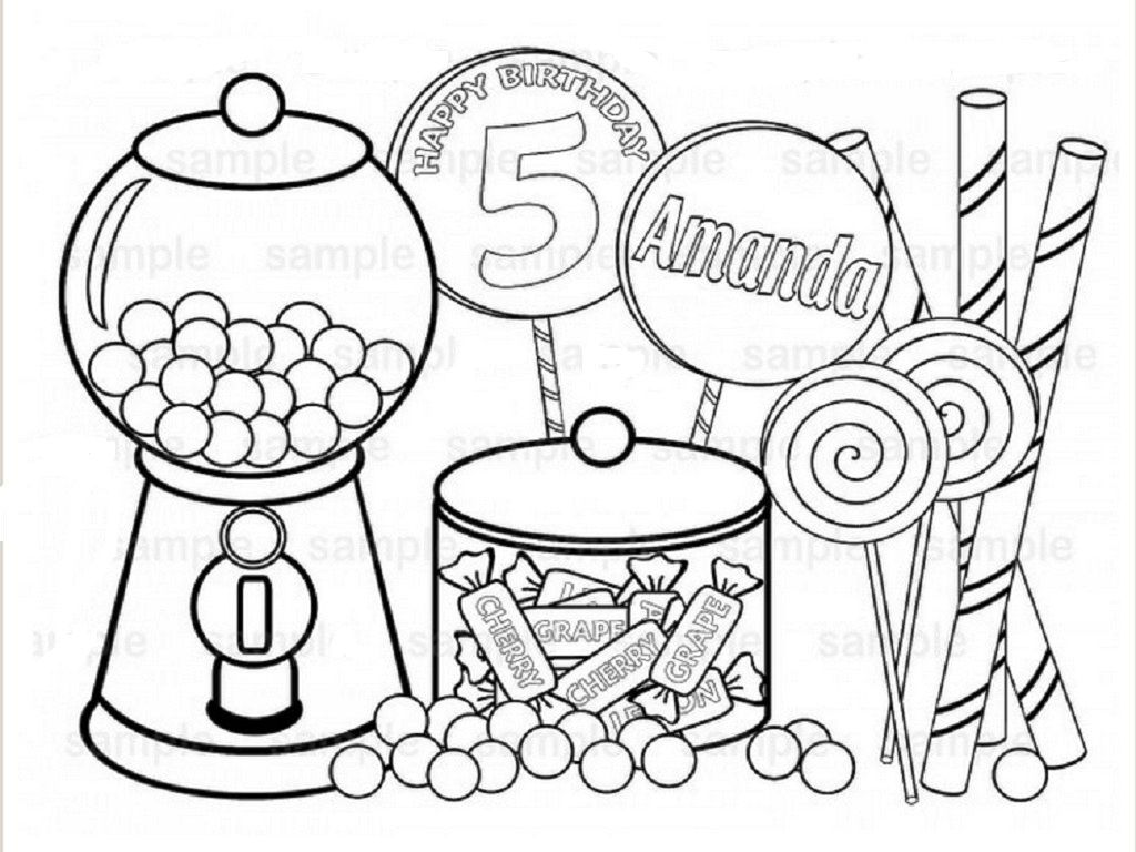 Heavenly Candy Coloring Pages Free Printables Preschool In Cure Personalized Printable Sweet Shoppe Birthday Party Page