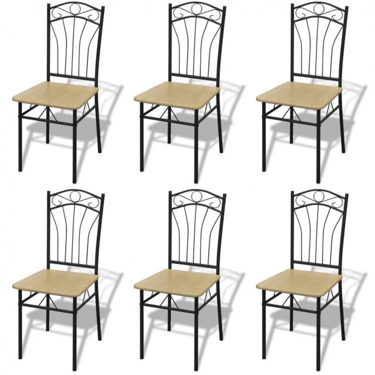 Dining Table Chairs Set Of 6 Brown Wooden Seat Modern Metal