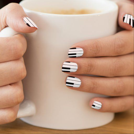 Musical Black & White Piano Keys Music Minx Nail Wraps | Zazzle.com