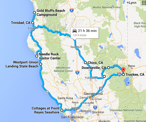 Californi North Coast Road Trip Map California Dreamin