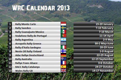Rally Calendar 2013