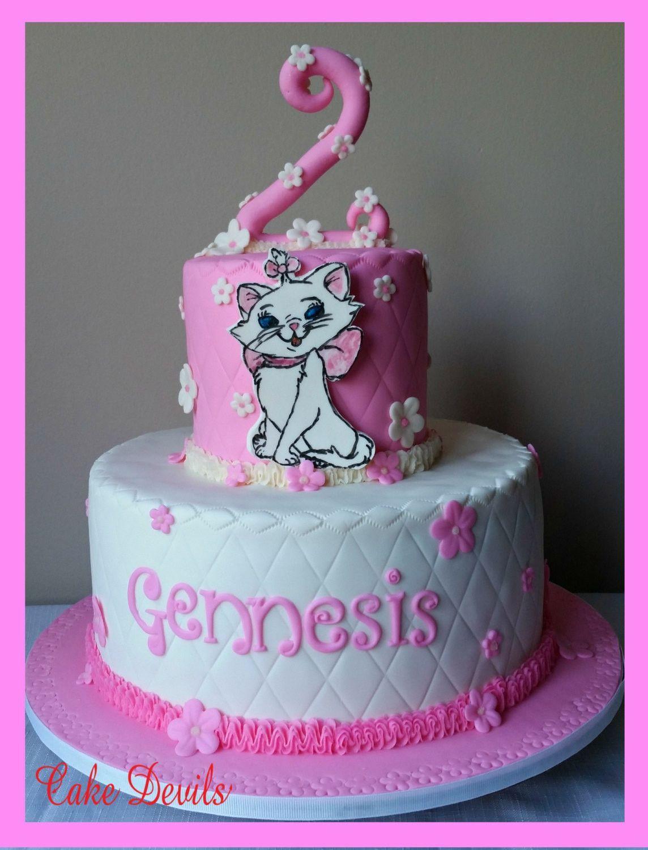 Cat Birthday Cake Decorations handmade edible fondant Aristocats