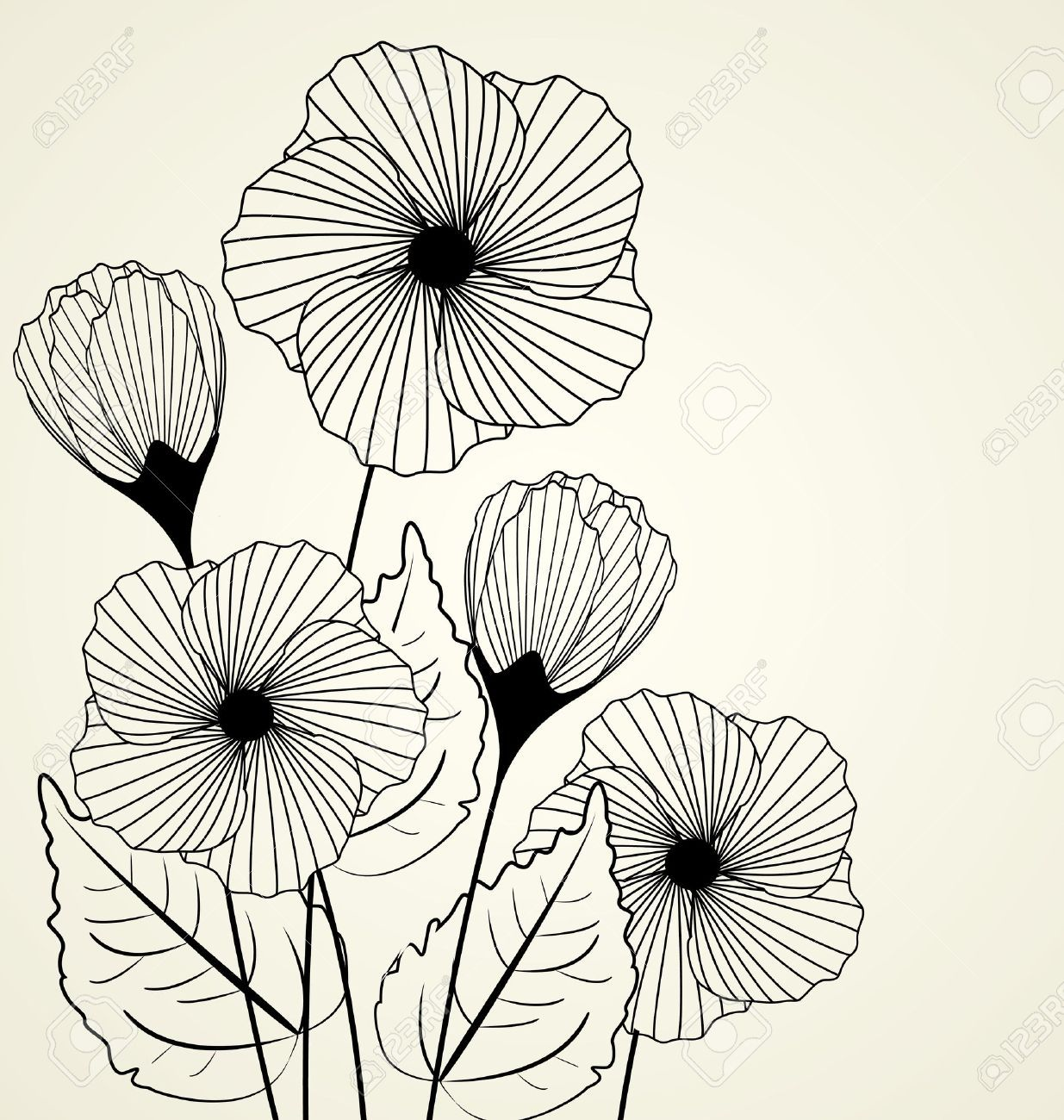 Silhouette of garden flowers in the background #backrounds