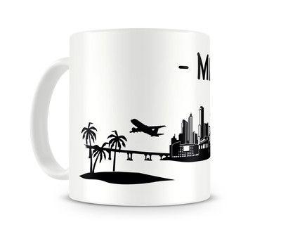 Tasse Miami Skyline. Eine Tasse bedruckt mit der Skyline von Miami