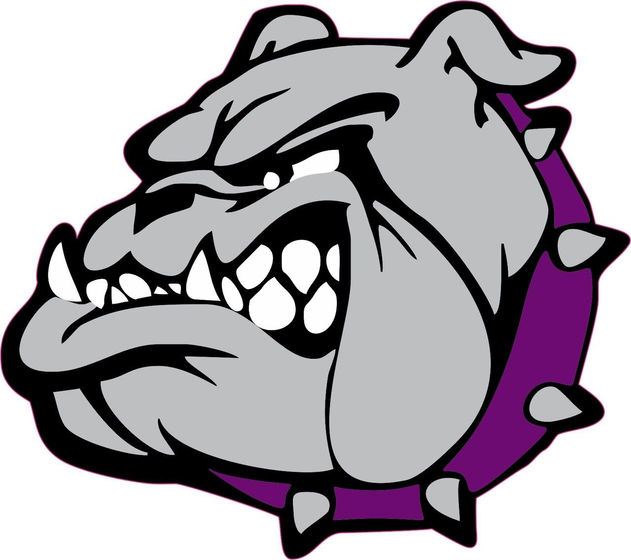 Bumper sticker design tips - 5in X 5in Purple Collar Bulldog Mascot Mascots Bumper Sticker Vinyl Window Decal