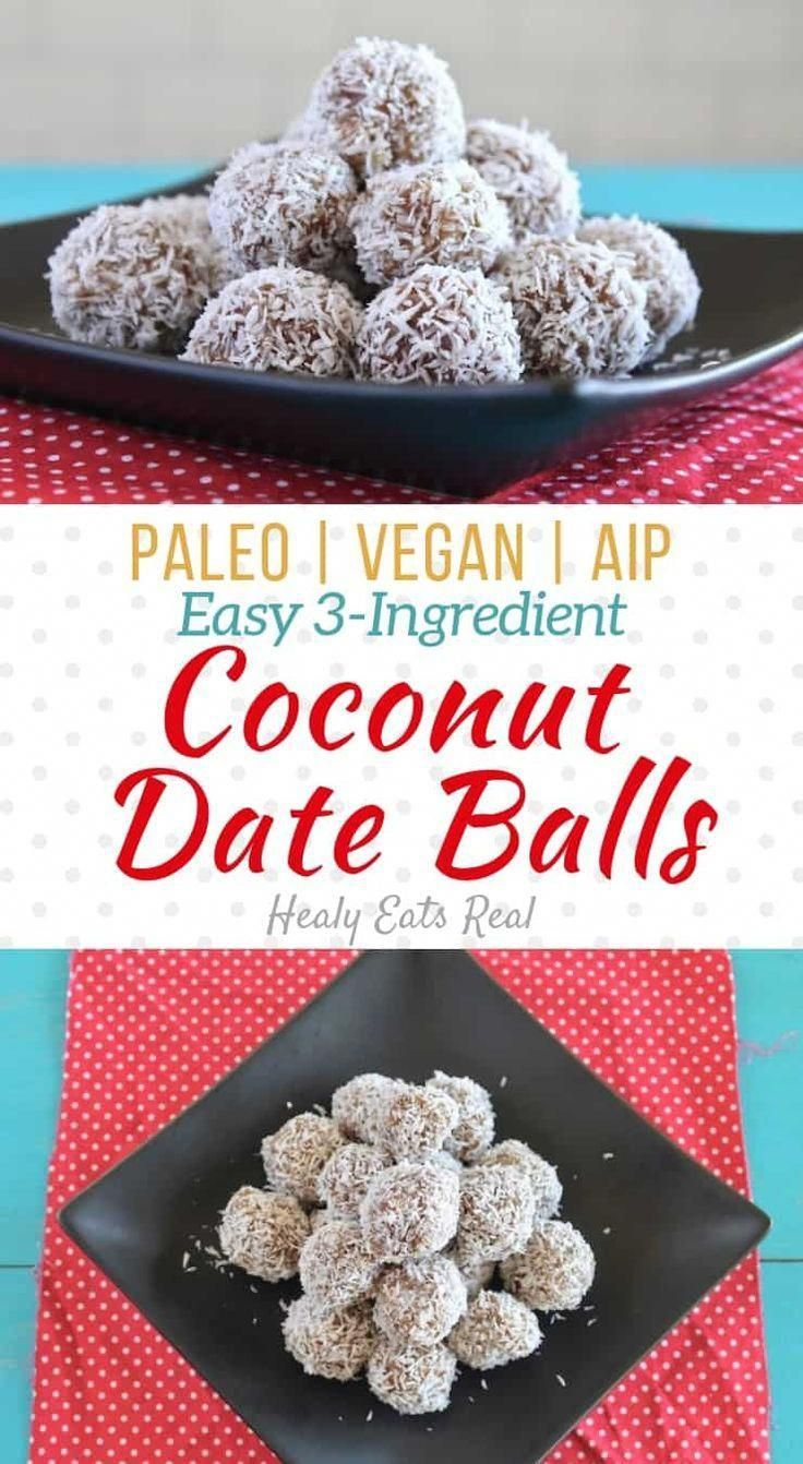 Date Balls (AIP, Paleo, Vegan)- These coconut date balls are a naturally sweet paleo and vegan treat or snack with only three simple ingredients. The outside has a textured coconut feel with a soft and almost creamy inside. #coconut via @healyeatsreal