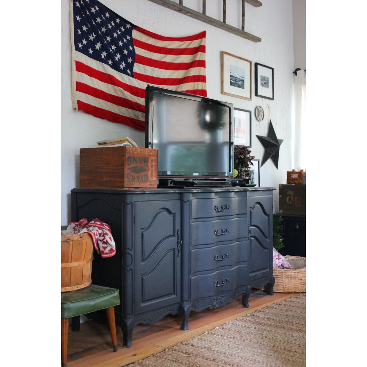 Americana Pottery Barn Inspired Living Room DIY Thrifted Painted Dresser As Entertainment Unit