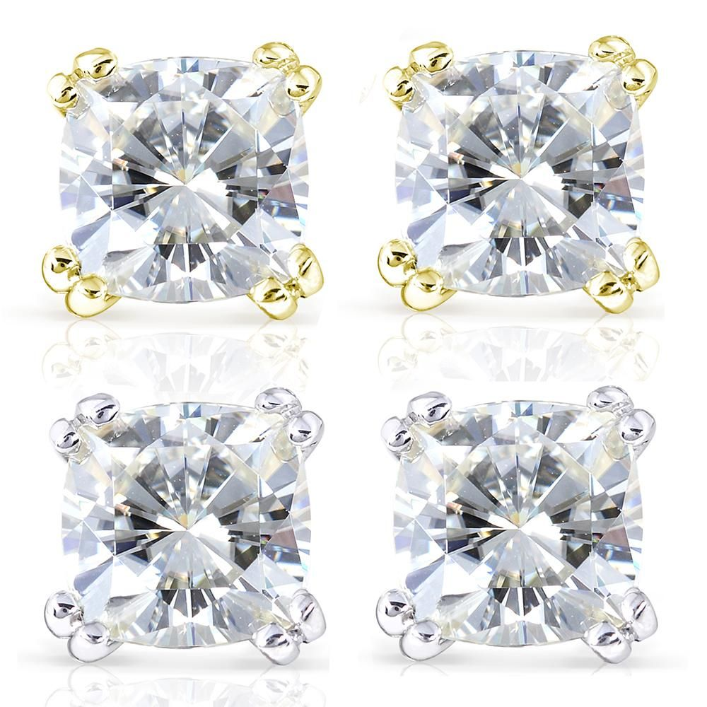 7bf5e258f Cushion-Cut Moissanite Stud Earrings 4 CTW 14k Gold #Moissanite, #Stud,  #Cushion, #Paid. Forever One ...