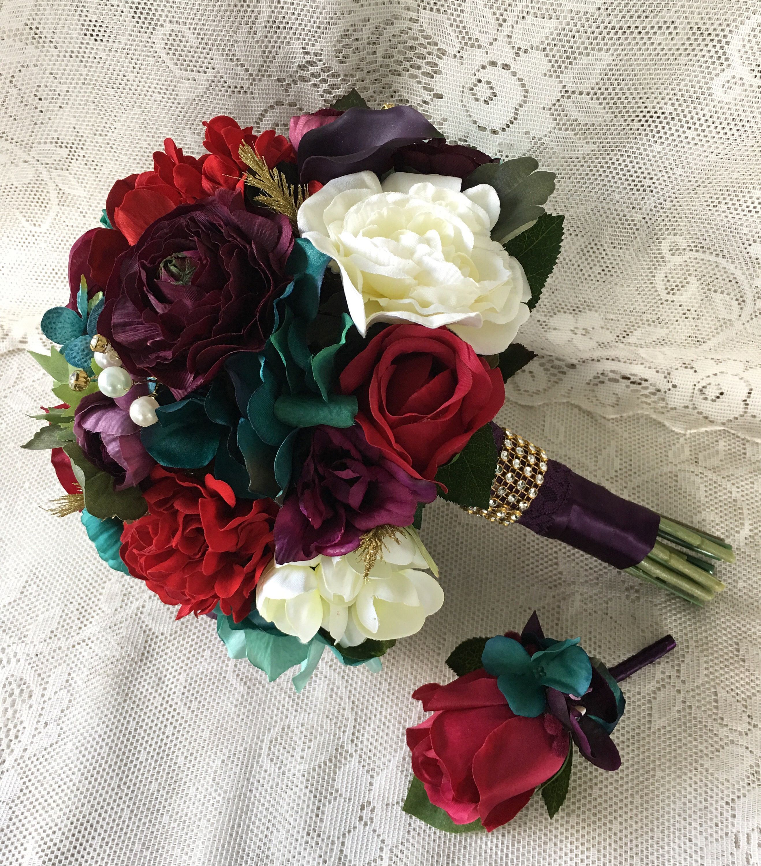 Wedding bouquet,Plum Purple Bridal bouquet, Burgundy Wedding bouquet ...