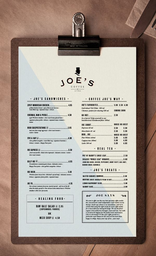 Brand developed for Joeu0027s Coffee Dublin I was responsible for the - coffee menu