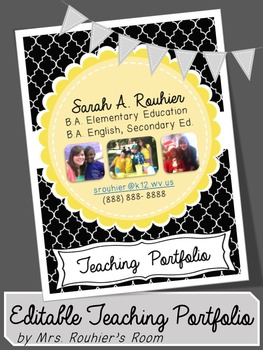 Editable Teaching Portfolio Template Black White Teaching Portfolio Teaching Portfolio Templates