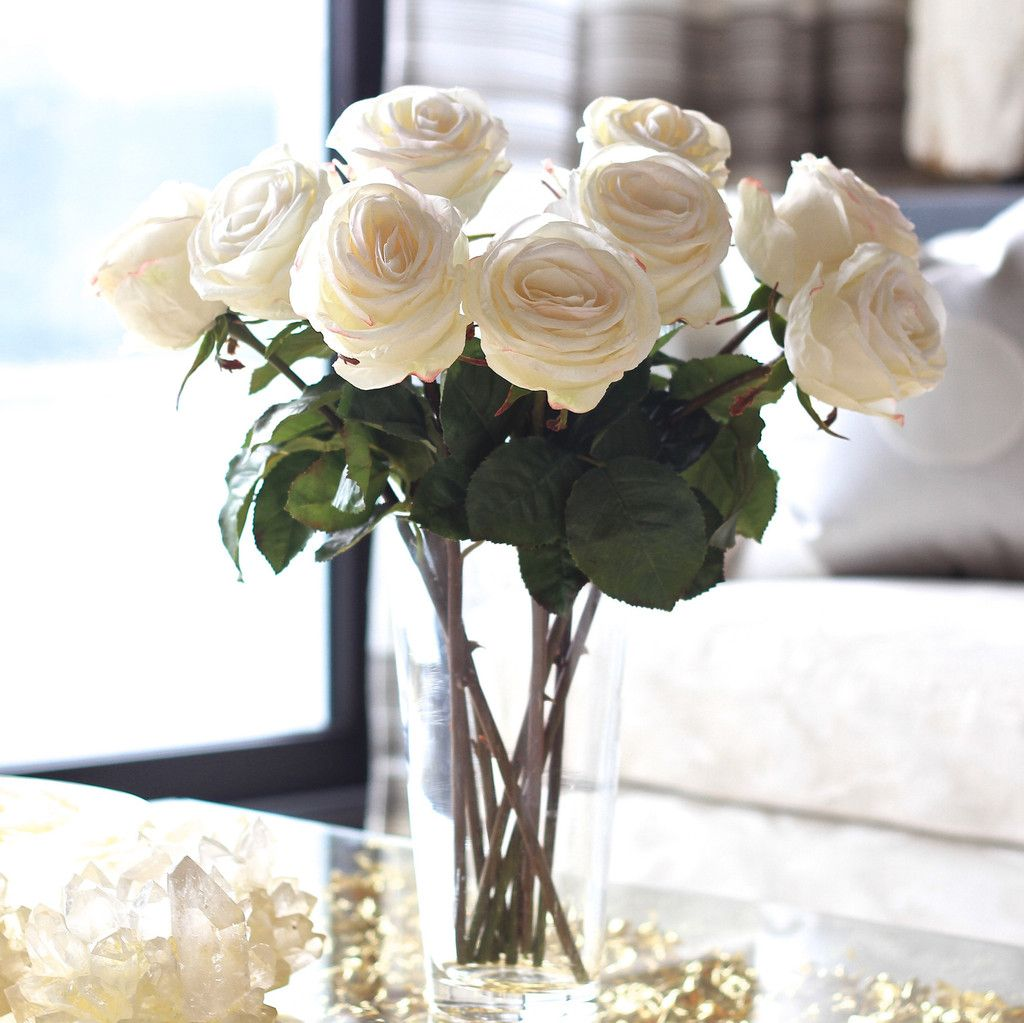 White Large Rose Interiors Pinterest Artificial Flowers