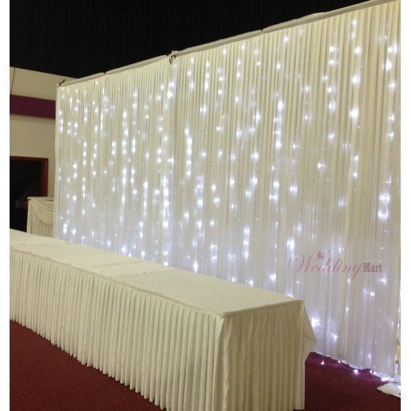 Lighted tulle table swag for wedding pleated for Background curtain decoration