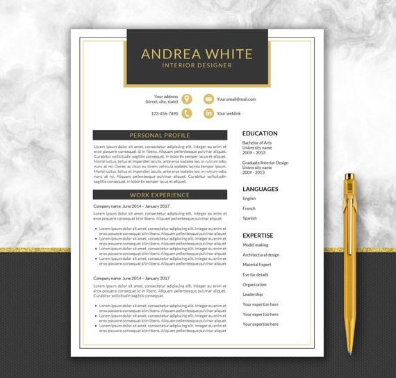 Black and Gold Resume Template + Cover Letter Modern Resume - editable resume template