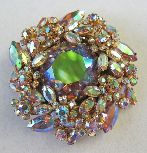 Gorgeous Signed VENDOME Large Oval Black Aurora Borealis Crystal Bead Necklace /& Earrings Set