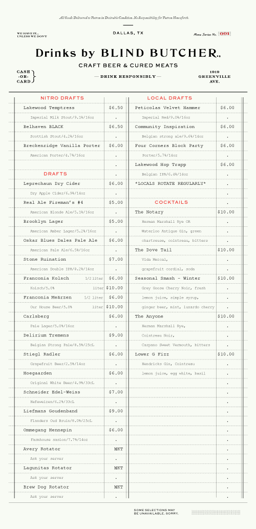 Top Art of the Menu: Blind Butcher | Type | Pinterest | Menu  KR65