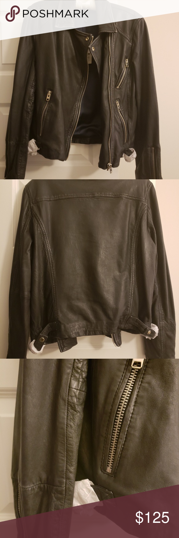 Black Leather Jacket US size 12 Genuine leather