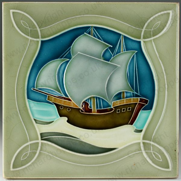 ANTIQUE c.1905 NSTG GERMAN ART NOUVEAU SAILING SHIP TILE. This item is sold, to visit my website to see what's in stock click here: http://www.richardhoppe.co.uk or for help or information email us here: info@richardhoppe.co.uk
