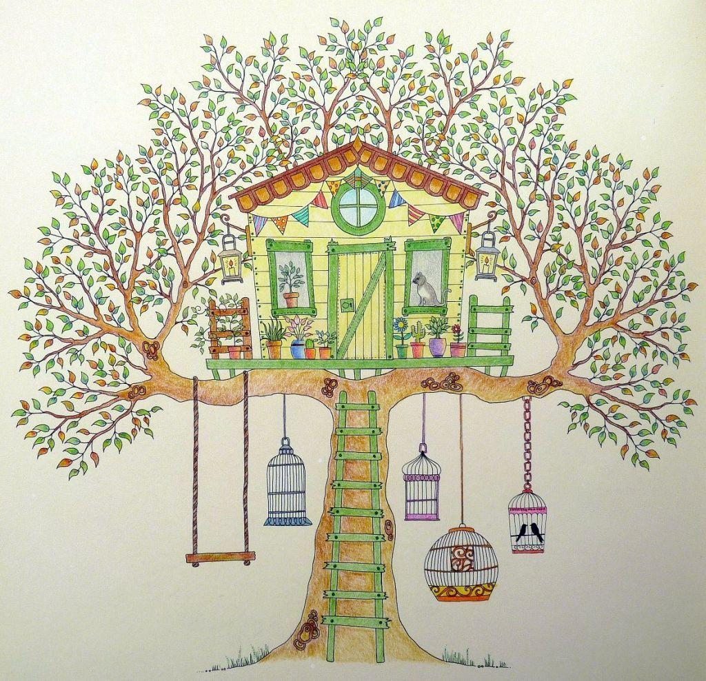 Secret Garden Treehouse Gekleurd Door Marianne In Het Boek Mijn Geheime Tuin Kleurplaten Voor Volwassenen Kleurplaten Geheime Tuinen