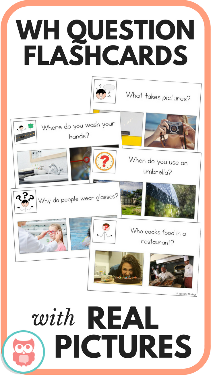 WH question flashcards that use real picture choices. Perfect activity for special education or speech and language therapy. Targets who, what, when, where, and why questions. Includes data collection sheet for progress monitoring. From Speechy Musings.